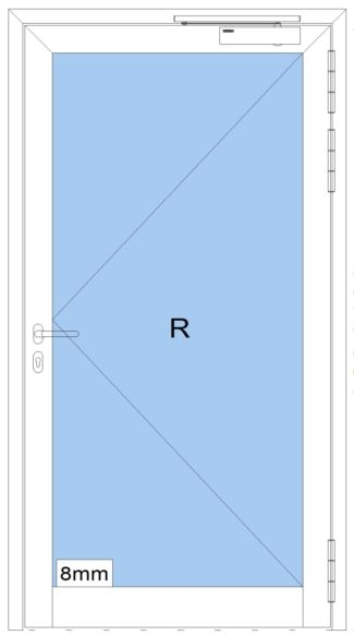 Rauchschutztüre RS - IA - Breite: 1000 mm Höhe: 2300 mm - heroal D 65 SP - Innenanwendung - Aluminiu