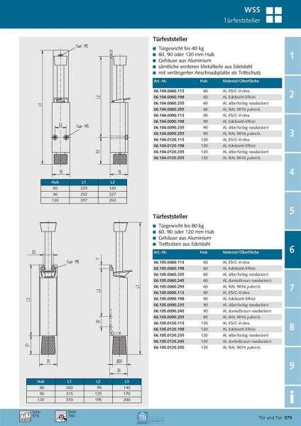 Türfeststeller 120 mm Hub - WSS 06.105.0120.245