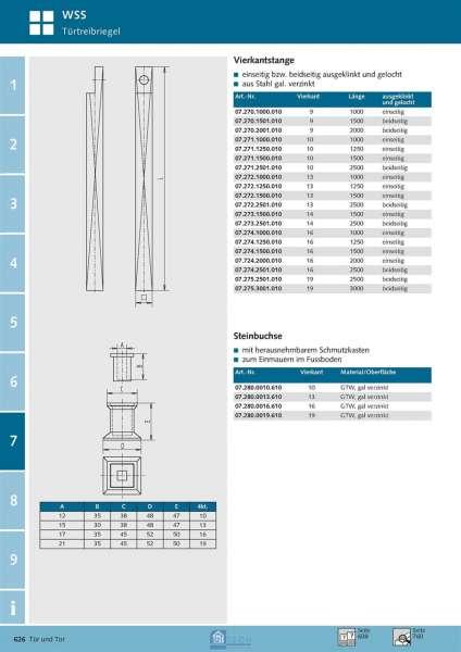 Vierkantstange 16 mm 4kt., 1500 mm - WSS 07.274.1500.010
