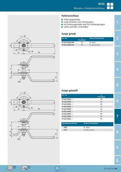 Hebelverschluss - doppelseitig TS 35 mm - WSS 07.623.0035.010