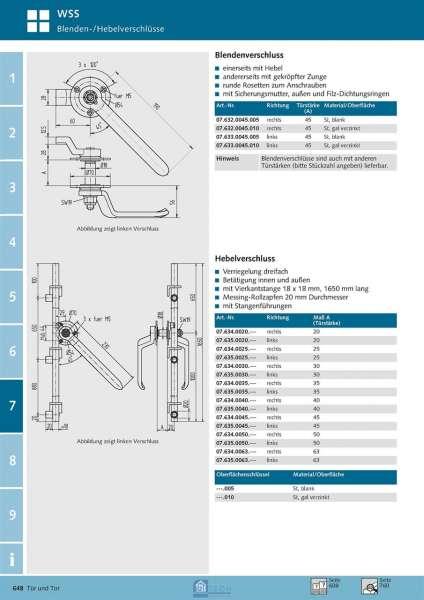 Hebelverschluss rechts, TS 63 mm - WSS 07.634.0063.005
