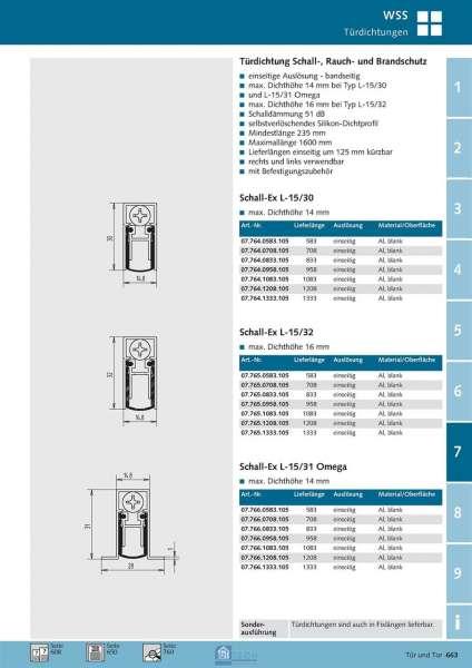 Türdichtung Schall-Ex L-15 / 32 WS 708 mm - WSS 07.765.0708.105
