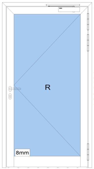 Rauchschutztüre RS - IA - Breite: 1300 mm Höhe: 2100 mm - heroal D 65 SP - Innenanwendung - Aluminiu