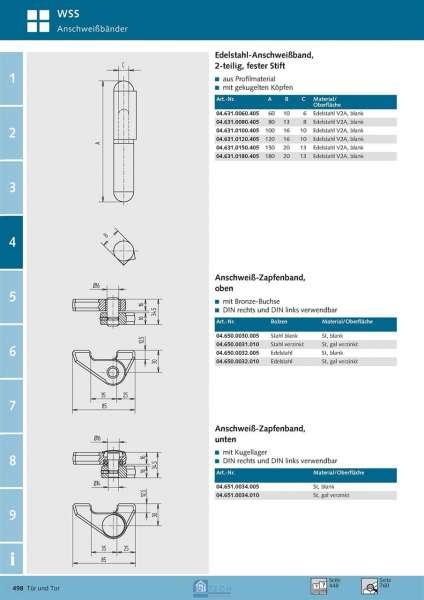 Anschweiß-Zapfenband, unten - WSS 04.651.0034.005