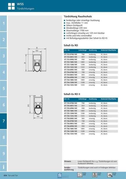 WSS 07.726.0708.105 Türdichtung Schall-Ex RD II 708 mm, einseitig