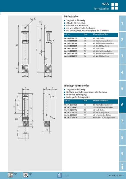 Teleskop-Türfeststeller 55 mm Hub - WSS 06.101.0055.035