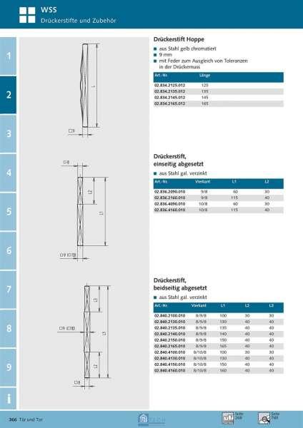 Drückerstift beidseitig abgesetzt 8/9/8 mm Vierkant - WSS 02.840.2150.010